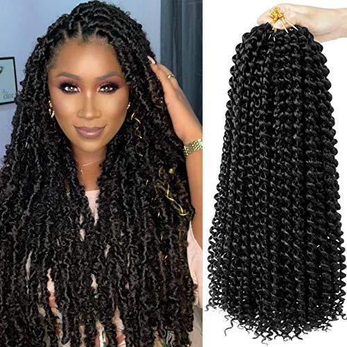 18 inch Passion Twist Hair Bohemian Braid Crochet Hair 6 Packs Water Wave Synthetic Curly Crochet Braids Long Hair Extensions Nature Black (1B#)