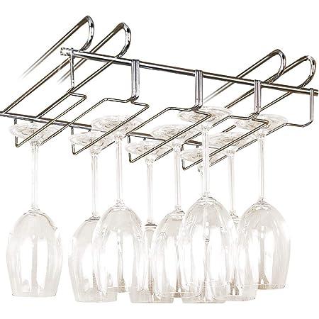 WENKO Accroche-verres pour étagère - pour 12 verres, Métal chromé, 34 x 8 x 25 cm, Argent brillant