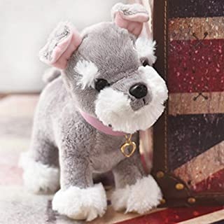 Cute Chihuahua Pet Dog Plush Simulation Toy Cartoon Animal Dog Creative Birthday Gift Zhaozb (Color : Schnauzer)