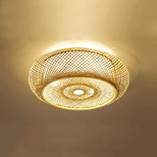 PNYGJXDD LED Retro Bamboo Art Ceiling Light Industrial Wind Hand Weaving Bamboo Lantern Living Room Tea House Club Decoration Light (Color : Warm Light, Size : 40cm)