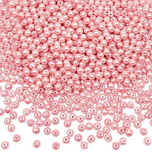 TOAOB 1000 Piezas de Cuentas de Vidrio de 4 mm Rosa de Perlas de Imitación Redondas Abalorios de Cristal para Manualidades y Fabricación de Joyas Pulsera Collar