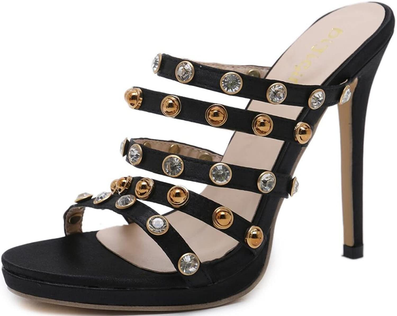 LINYI Womens Ladies Summer Stiletto High Heels Fashion Rivet Open Toe Slippers