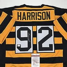 Autographed/Signed James Harrison Pittsburgh Bumble Bee Football Jersey JSA COA