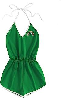 0d20dacb961 SweatyRocks Women s Halter Sleeveless Short Jumpsuit Rompers Backless  Playsuit