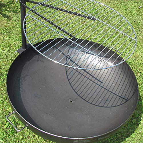 Mojawo Massive Stahl Halterung mit verchromten Grillrost Ø60cm für Feuerschalen bis 80cm Terassenfeuer Feuerstelle