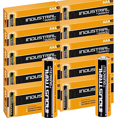 Duracell Procell Industrial AAA MN2400 Alkaline-Batterien LR04 Ersatzbatterien, 100 Stück
