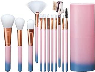 Elisel Makeup Brush Sets 12 Pcs Makeup Brushes Travel makeup brush set Eye shadow brush, foundation brush, blush brush and other cosmetic tools(Pink-Blue)