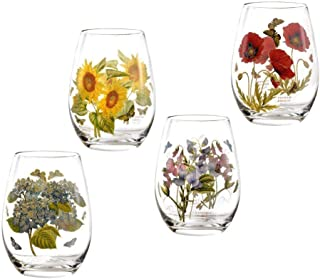 Portmeirion Botanic Garden Stemless Wine Glasses Set of 4, 20oz / 570ml | Classic Floral Botanical Design