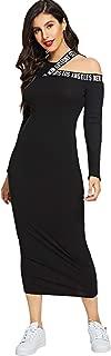 MAKEMECHIC Women Asymmetrical Cut Out Neck Rib Knit Long Sleeve Bodycon Pencil Dress
