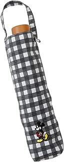 小川(Ogawa) 折りたたみ傘 晴雨兼用ワンポイント刺繍日傘 手開き 50cm ディズニー ミッキーマウス チェック ブラック UV加工 はっ水 安全カバー付き 91112