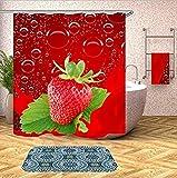 Duschvorhang Mit Haken Formwiderstandsfähig Wasserdicht Waschbar Rote Erdbeere Wasserdicht Polyester Badezimmerringe Set Wohnkultur 180X180Cm