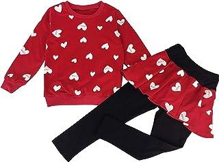 Conjunto de ropa para niños de manga larga, camiseta y pantalón con forma de corazón 98 104 110 116 122 rojo 80 cm/ 76,2 c...