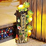Solar Turtle Garden Sculptures Statues, E-Kong Welcome Sign Fall Decor Outdoor with Solar Lights, Lovely Tree Stump Figurines for Halloween Garden Lawn Yard Patio Decorations