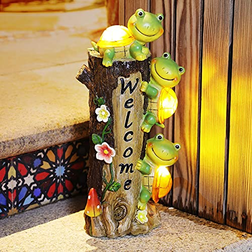 Solar Turtle Garden Sculptures Statues, E-Kong Welcome Sign Outdoor Garden Decor with Solar Lights, Lovely Tree Stump Figurines for Lawn Yard Patio Halloween Decorations