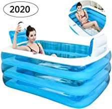 CTEGOOD Inflatable Bath Tubes for Adults Portable Folding Inflatable Bathtub with Electric Air Pump Soaking Bathtub Home SPA Bath Equip Blue 160×115×60cm
