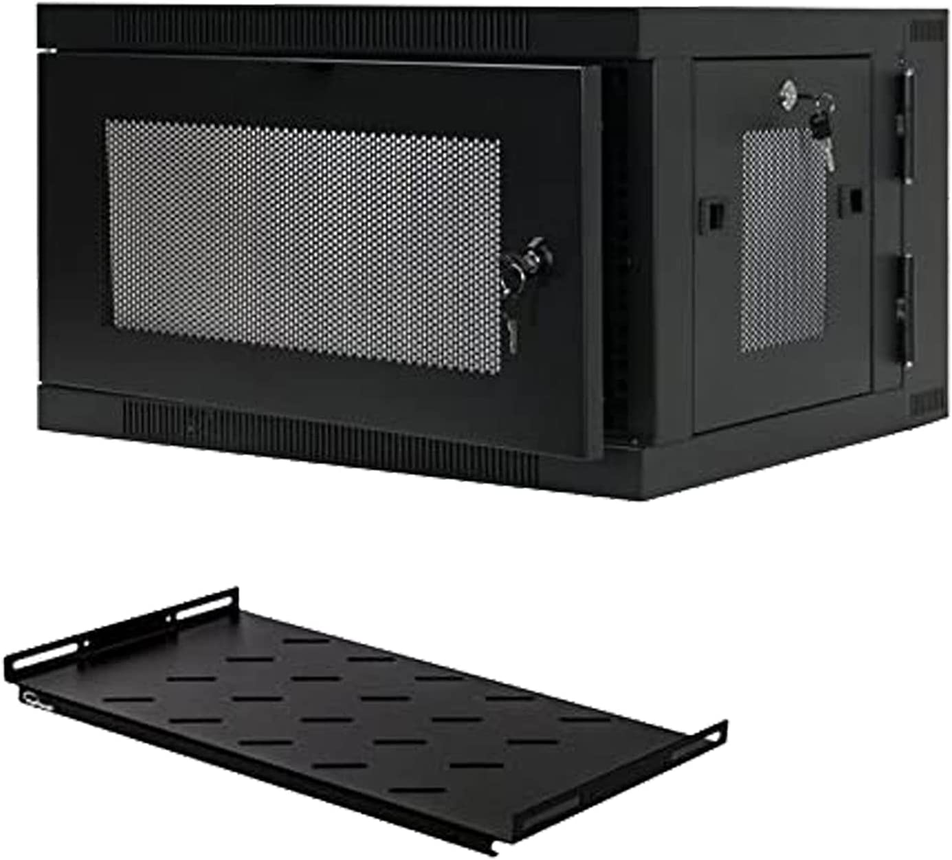 FerruNet6U Wall Mount Hinged Swing Out Perforated IT Server Network Rack Cabinet W/Shelf,ApplytoSmall Office, Home Office.
