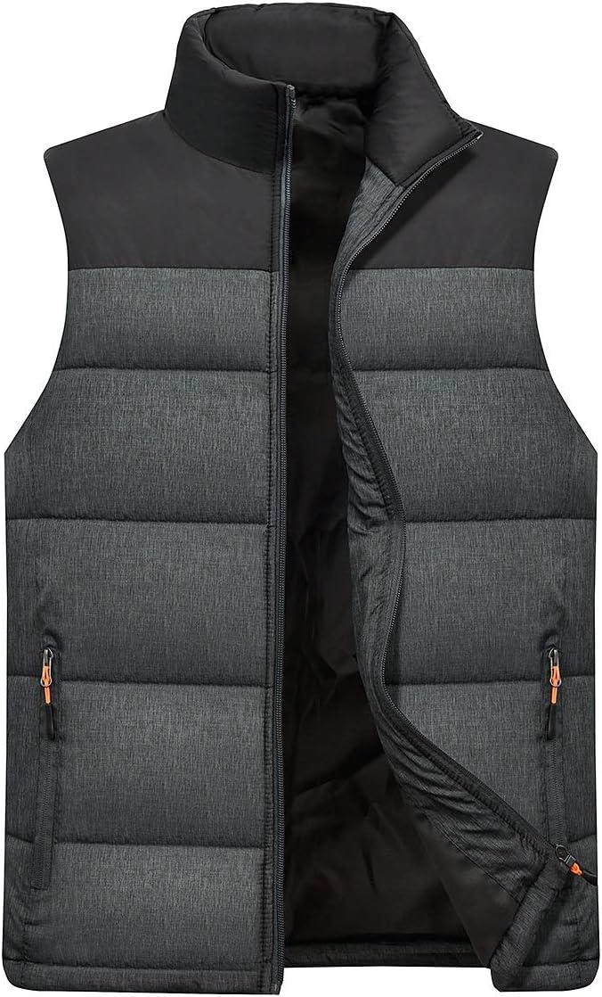 LYLY Vest Women Mens Vest Male Sleeveless Jackets Stand Collar Plus Size Waistcoats Spring Autumn Casual Vest Solid Men's Vests Men Coats Vest Warm (Color : Black, Size : XXXL)