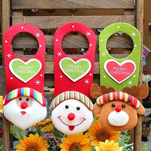 Kerstboomhanger, kerstboomhanger, kunststof, om op te hangen, deurgreep, decoratie, voor Kerstmis, naamplaatje, kerstboom, met knoopbeugel, Vieil Homme+bonhomme de Neige+cerf