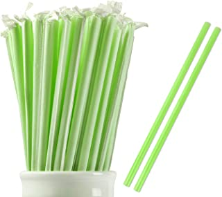 Webake 100% Compostable Smoothie Straws 9 Inch Long Wide Drinking Straw Eco Friendly Plant-Based PLA, Plastic Alternative Straws for Milkshake Slushie, Pack of 100 Individually Wrapped