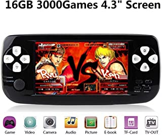 BAORUITENG Handheld Game Console, Portable Video Game Console 4.3 Inch 3000 Classic Retro Game Console Pap-KIII , Support GBA / GBC / GB / SEGA / NES / SFC / NEOGEO, (Black)