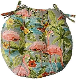 Indoor / Outdoor Round Tufted Bistro Cushion with Ties - Waverly Elegant Tropical Platinum Flamingo - Grey, Aqua, Green, Coral (18