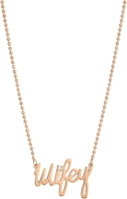 Betsey Johnson - Blue by Betsey Johnson Rose Gold 'Wifey' Pendant Necklace