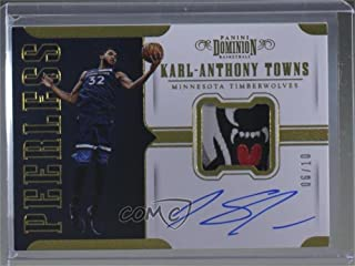 Karl-Anthony Towns #6/10 (Basketball Card) 2017-18 Panini Dominion - Peerless Jersey Autographs - Gold #PJ-KAT