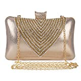 Clocolor Evening Bags and Clutches for Women Rhinestone Crystal Clutch Purse Wedding Bridal Handbag Party Bag (Gold)
