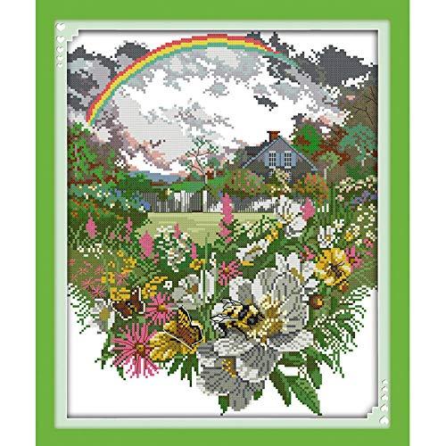Punto de cruz Kit Flor del arco iris después de la lluvia 40X50cm DIY bordado adultos principiantes preciso impreso needlework decoración hogar 11ct (Lienzo preimpreso)