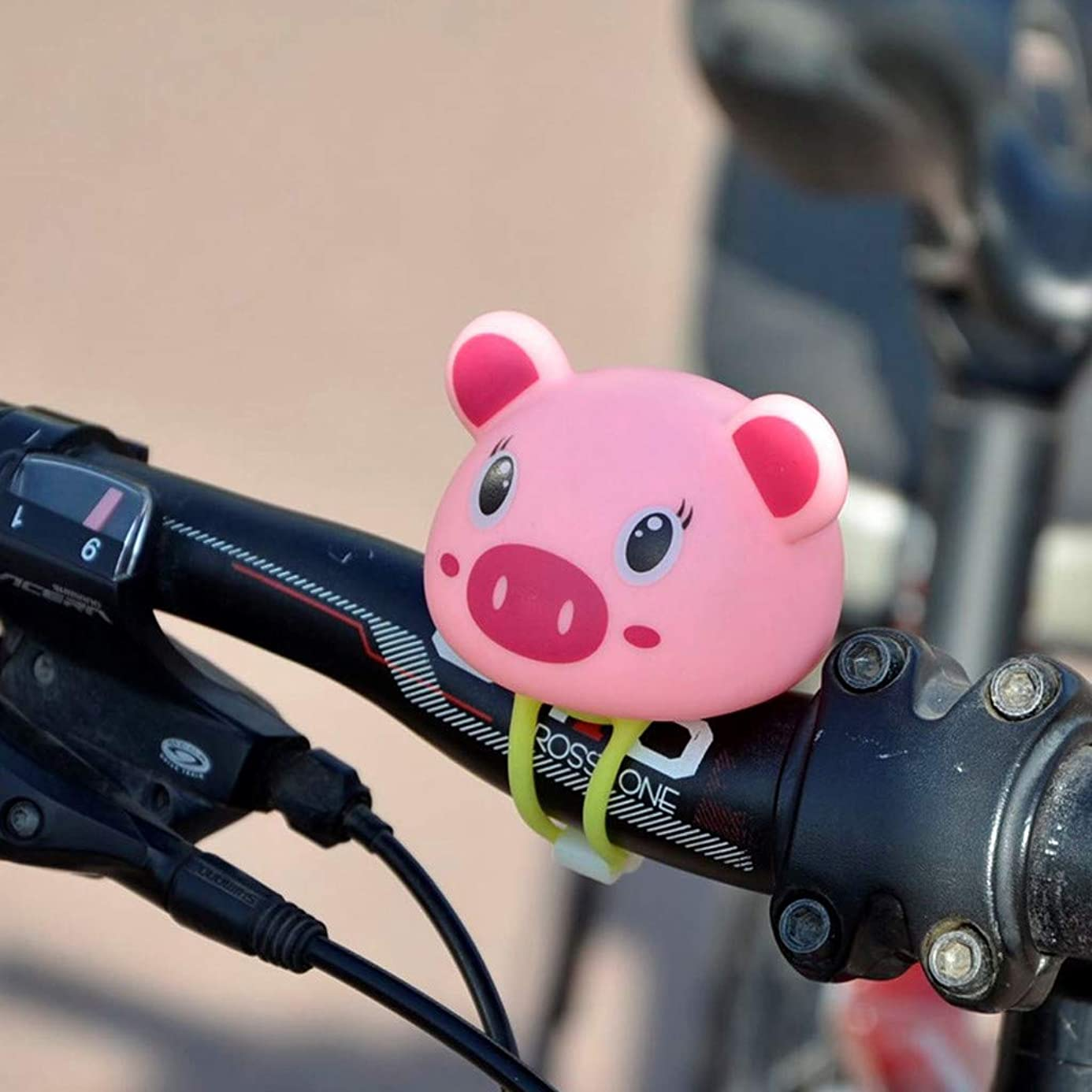 Aobiny Bike Accessories,Bells Loud Voice Cartoon Pig Monkey Model Handlebar Headlight Shining Bicycle Accessory Outdoor Sport Cycling