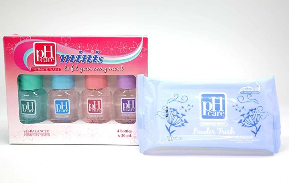スキャン円形あからさま(ピーエイチケア)pHcare フェミニンウォッシュ (ミニボトル4本 + シート(パウダーフレッシュ))