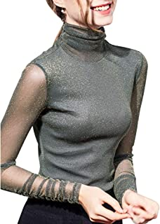 Women's Turtleneck Top Long Sleeve/Sleeveless Slim Fit Shirts Mesh Sheer See Through Casual Top