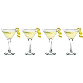Epure Milano Collection 4 Piece Stemmed Martini Glass Set - For Drinking Martinis, Manhattans, Vodka, Gin, and Cocktails (Martini Glass (6 oz))