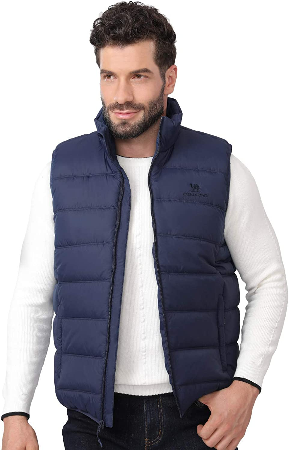 CAMEL CROWN Puffer Vest Men Quilted Winter Padded Sleeveless Jackets Gilet for Casual Work Travel Outdoor