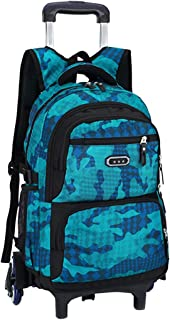 Cool Boys Teenager Trolley Carry On Shoulder Bag - Mutifunction Backpack Casual Travel Bag with Removable Wheeled Suitcase Student Daypack BESBOMIG