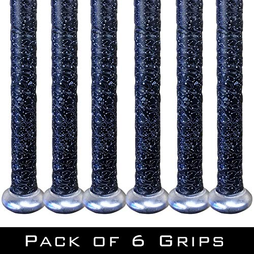 Alien Pros Bat Grip Tape for Baseball (6 Grips) – Precut and Pro Feel Bat Tape – Replacement for Old Baseball bat Grip – Wrap Your Bat for an Epic Home Run (6 Grips, Black Magic)