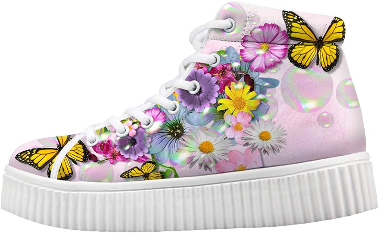 Owaheson Platform Lace up Sneaker Casual Chunky Walking shoes Women Illinois Monarch Butterfly Bright Flowers