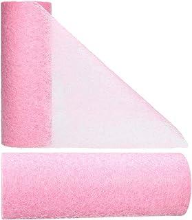 AmaCasa Chemin de table en non-tissé - 23 cm/20 m - Motif fleuri - Pour mariage ou communion - Rose foncé