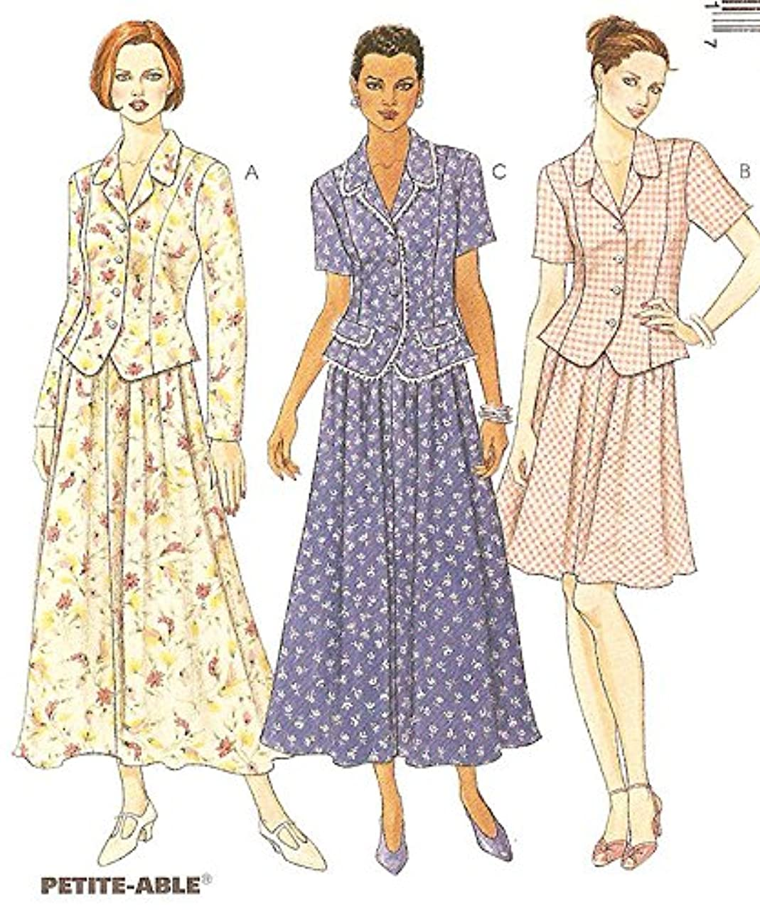 McCall's vintage sewing pattern 8754 princess top and skirt - Size 10-12-14