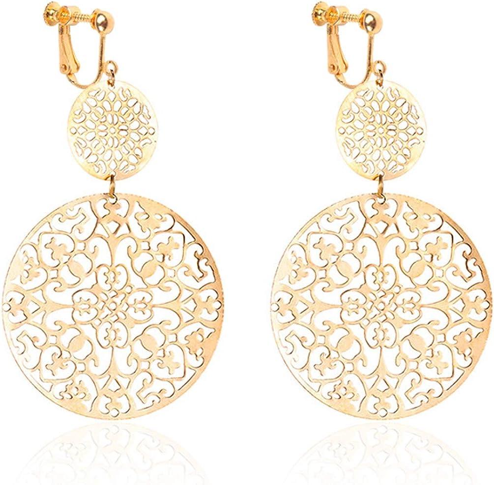 Clip on Earrings Delicate Filigree Dangle Double Circle Drop Hook Statement Earrings for Women Girls