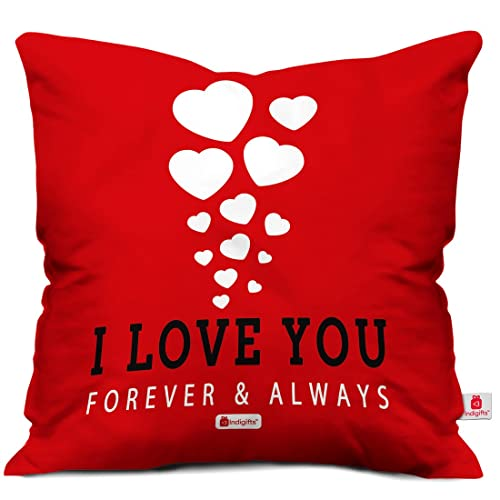 Indigifts Love You Forever Quote Red Cushion Cover 18x18 Inches