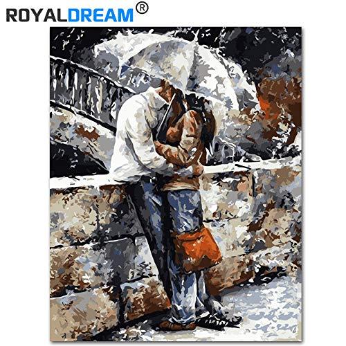 Paar onder parapluKits kleuren verfmoderne Wall Art foto60CMx75CM no frame