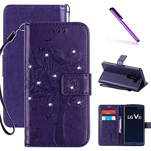 LG V10 Case, LEECOCO Embossed Floral 3D Handmade Bling Crystal Diamonds Butterfly with Card Slots Magnetic Flip Stand PU Leather Wallet Case for LG V10 Wishing Tree Purple