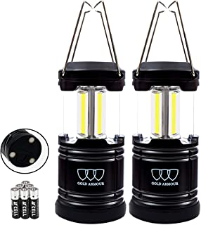 Gold Armour 2 Pack Portable LED Camping Lantern Flashlight with Magnetic Base - EMITS 500 LUMENS - Survival Kit for Emergency, Hurricane, Power Outage with 6 AA Batteries Included