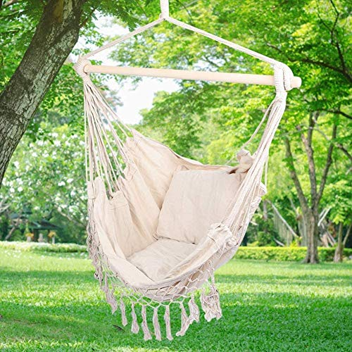 Hanging Chair Garden Hanging Chair Hanging Seat Hanging Swing Garden Swing Hammock Cushion Seat with Two Cushions Balcony Hanging Chair Outdoor Hanging Chair with Hanging Chair Mat