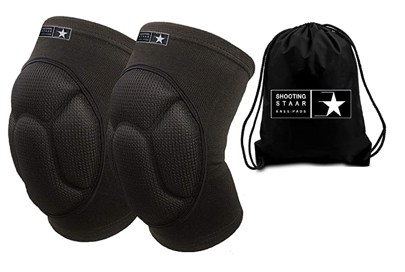 Cushioned Knee Pads for Work +FREE bag, Volleyball, Wrestling, Crossfit, Cycling, MMA, Gardening & light DIY. Injury Recovery and Pain Relief. Kids & Adult Sizes. Non Slip Fabric All Day Star Comfort