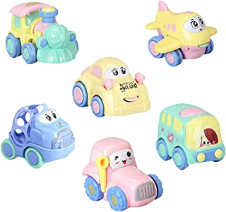 Aideal 6Pcs Baby Kids Friction Powered Vehicles Toy Set Early Educational Toddler Car Toys for 1-3 Year Old Kids