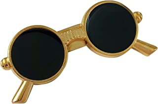 1c66f1c0d906 Ammvi Creations Retro Circle Sunglasses Black Enameled Tiny Brooch Pin  Lapel Pin Shirt Stud for Men