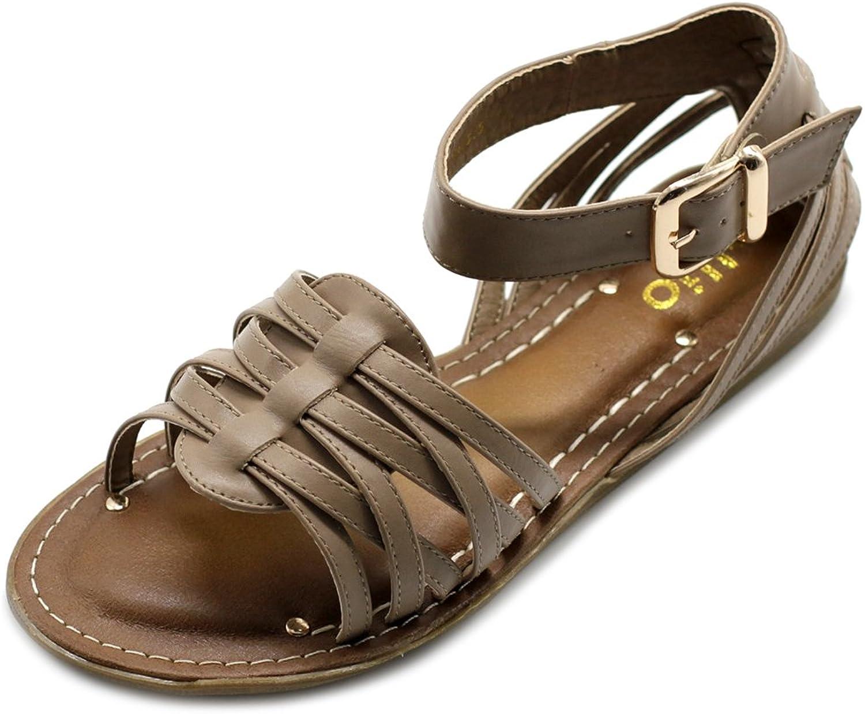 Ollio Ollio Ollio kvinnor skor Ankle Strap Gladiator Flat Sandal (6.5 B (M) US, Taupe)  köpa billiga nya