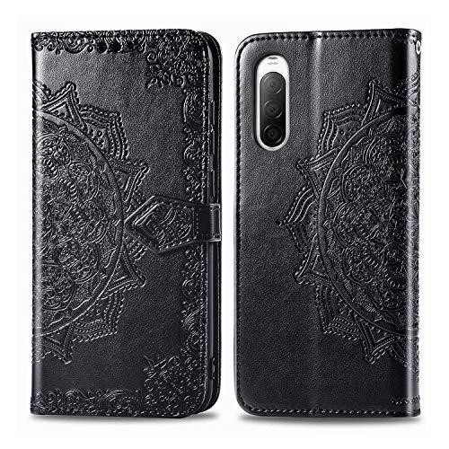 Bear Village Hülle für Sony Xperia 10 II, PU Lederhülle Handyhülle für Sony Xperia 10 II, Brieftasche Kratzfestes Magnet Handytasche mit Kartenfach, Schwarz